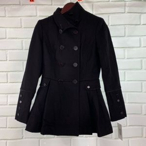 Calvin Klein Black Wool Pleated Skirt Peacoat 4P
